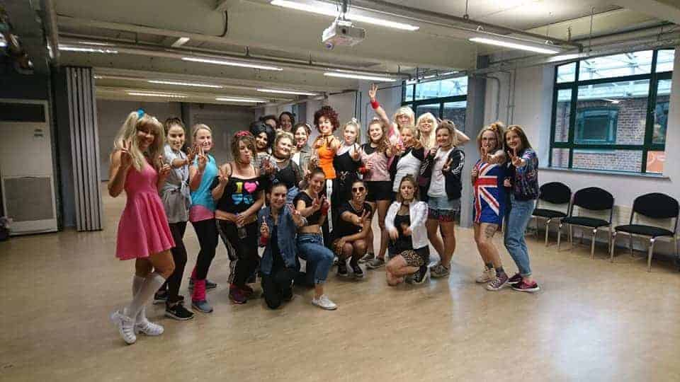 Ladies on a Hen Party Dance Class Manchester Enjoying a Spice Girls Themed Party